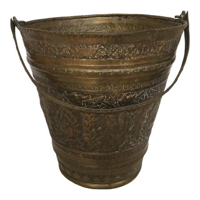 Anglo-Raj Mughal Bronzed Copper Vessel Bucket For Sale