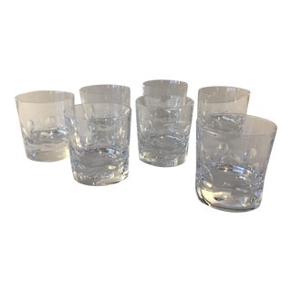 Vintage Christofle Cluny Crystal Double Old Fashioned Glasses - Set of 7 For Sale