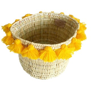 Moroccan Yellow Tassel Large Basket For Sale