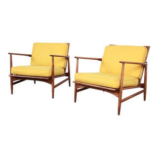 Ib Kofod-Larsen for Selig Danish Modern Sculpted Teak Lounge Chairs, Pair For Sale