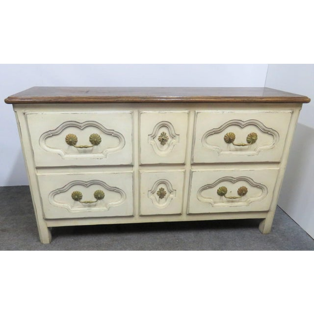 French Style Cream Painted Commode For Sale - Image 9 of 9