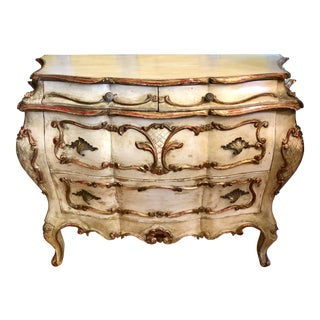 Antique Italian Paint Decorated Bombay Commode For Sale