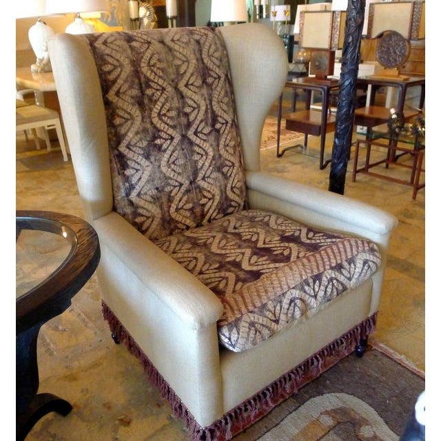 Early 20th Century Bohemian Wingback Pair Chairs Early 20th Century For Sale - Image 5 of 11