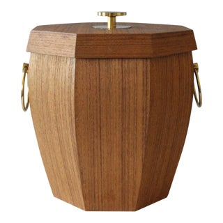 Mid Century Teak Ice Bucket With Brass Handles Octagonal Insulated For Sale