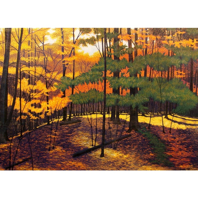 "Realism Gordon Mortensen ""Wellesley Woods"" Signed Woodcut Print For Sale - Image 3 of 4"
