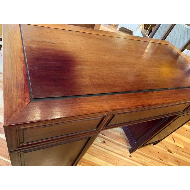 20th Century Campaign Solid Teak Partner Desk With Brass Hardware For Sale - Image 11 of 13
