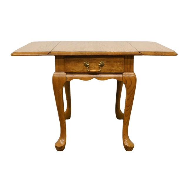 Mersman 20th Century French Country Mersman Solid Oak Drop Leaf Accent End Table For Sale - Image 4 of 13