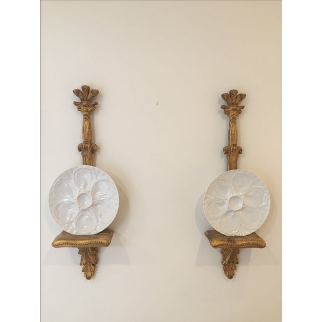 Porcelain Oyster Plates on Gold Brackets - A Pair - Image 2 of 5