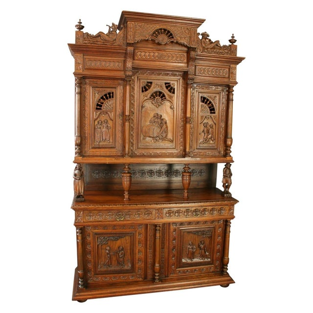 Antique Chestnut French Brittany Style Buffet - Image 1 of 8