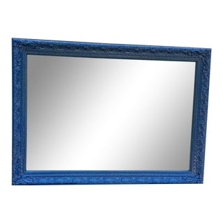 "Antique Mirror Newly Lacquered in ""Salty Dog"" Nautical Blue For Sale"