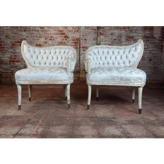 1940s Vintage French Provincial Blue Upholstered Asymmetrical Bergeres Chairs- A Pair Preview