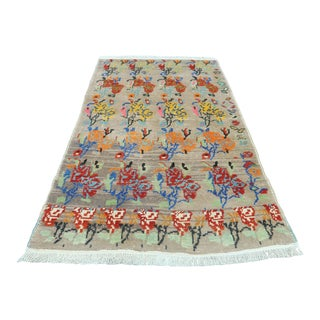 1960s Turkish Small Rug Floral Carpet For Sale