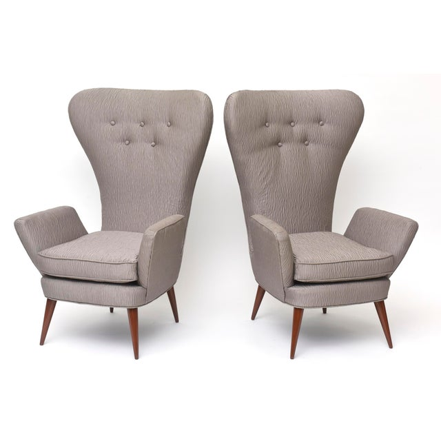 1950s Pair of Italian Modern High Back Chairs, Italy For Sale - Image 5 of 11