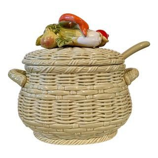 Fitz & Floyd Ceramic Vegetable Tureen & Ladle