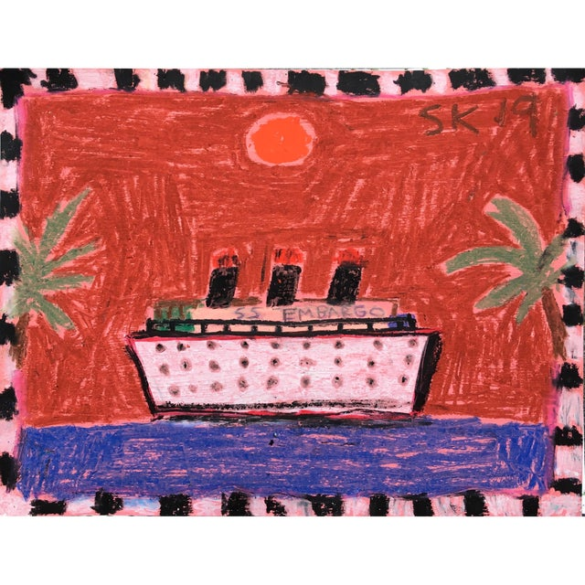 'Ss Embargo' Oil Pastel Drawing by Sean Kratzert For Sale