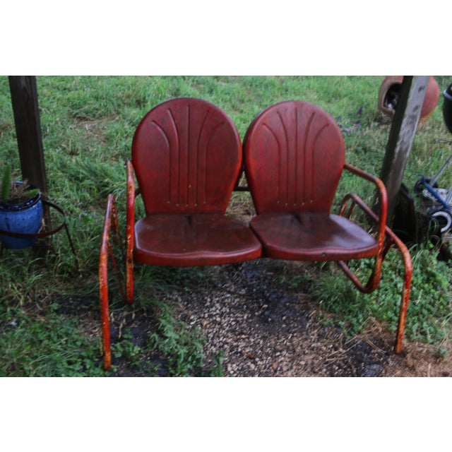 Vintage Metal Patio Glider & Two Chairs - Set of 3 For Sale - Image 4 of 10