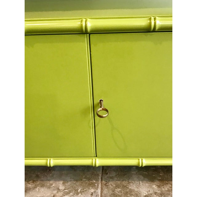 Chinoiserie Avocado Green Faux Bamboo Cabinet/Bar Cabinet For Sale In Los Angeles - Image 6 of 8