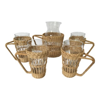 Vintage Wicker Drink Set With Pitcher & Four Glasses - 10 Pieces For Sale
