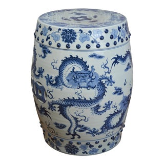 Mid 20th Century Blue and White Dragon Porcelain Garden Stool For Sale