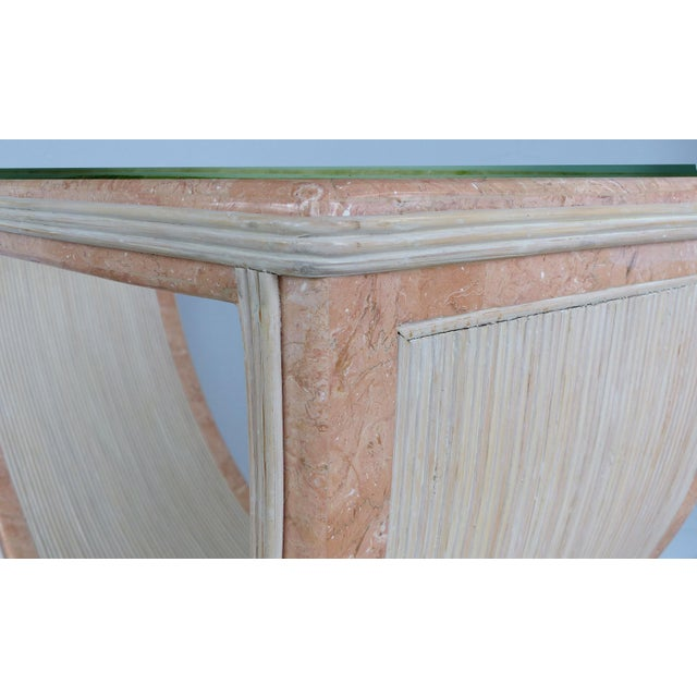 Gabriella Crespi Style Reed and Faux Painted Marble Console Table or Dining Base For Sale In Miami - Image 6 of 13