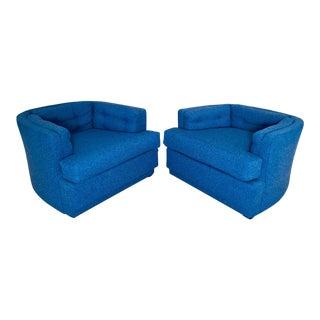 Vintage Blue Club Chairs - A Pair