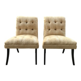 1940s Hollywood Regency Vintage Tufted Klismos Slipper Chairs- a Pair Champagne Velvet For Sale