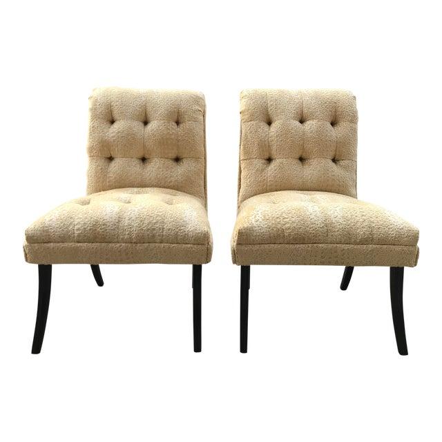 1940s Hollywood Regency Vintage Tufted Klismos Slipper Chairs- a Pair Champagne Velvet For Sale