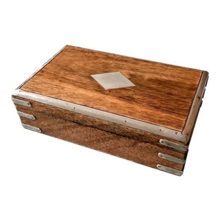 Teak & Nickel Box For Sale
