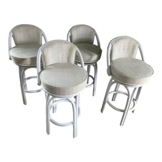1980 White Rattan Swivel Upholstered Bar Stools - Set of 4 For Sale