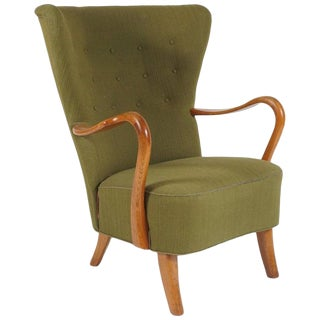 1940s Vintage Alfred Christensen Danish Wingback Chair For Sale