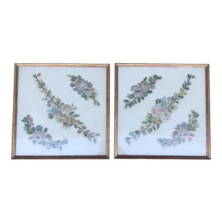 Antique Flower Embroidered Wall Hangings - A Pair For Sale