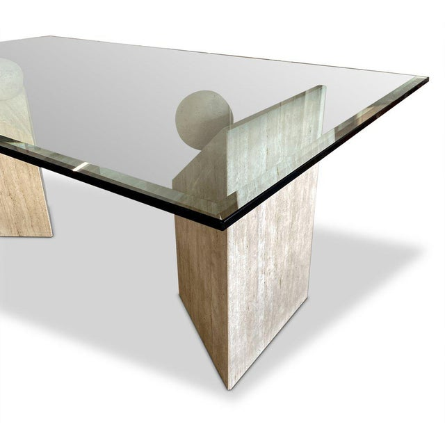 Modern 1990s Travertine + Glass Dining Table For Sale - Image 3 of 4