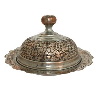 Etched Copper Lidded Ottoman Serving Dish For Sale