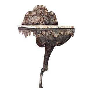 19th C. Italian Bracket Console With Faux Marble Top For Sale