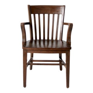 Vintage Bown Oak Library Chair Ca 1930 For Sale