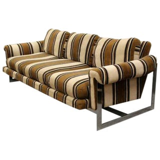 Mid Century Modern Milo Baughman Thayer Coggin Floating Chrome Sofa 1970s For Sale