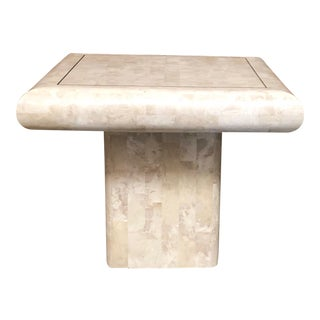 20th Century Modern Tessellated Stone Side Table With Brass Inlay For Sale