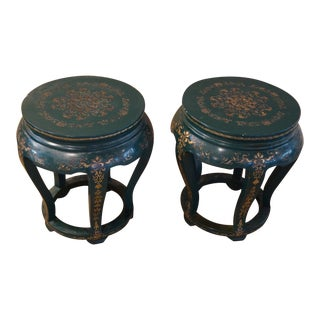1950s Chinese Green Oriental Side Tables - a Pair For Sale