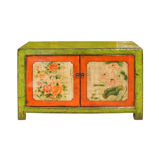 Lime Green & Orange Flower Side Table or Cabinet - Image 2 of 6