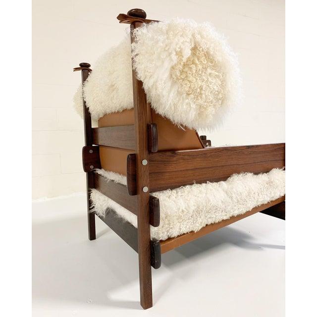 Wood Sergio Rodrigues for Oca Solid Jacaranda Tonico Chair Restored in Gotland Sheepskin and Loro Piana Italian Buffalo Leather For Sale - Image 7 of 13