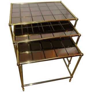 French Brass Nesting Tables With Amber Mirrored Grid Design Glass - Set of 3 For Sale