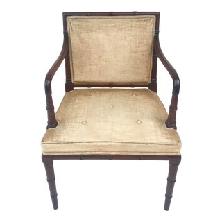 1960s Traditional Hickory Mahogany Faux Bamboo Chair For Sale