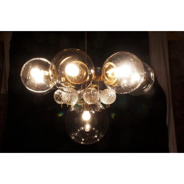 1960s Large Brass Chandelier with Crystal Balls by Kamenicky Senov, 1960s For Sale - Image 5 of 9