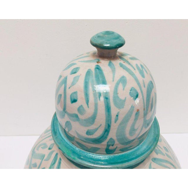 Moroccan Ceramic Lidded Urn From Fez With Arabic Calligraphy Lettrism Writing For Sale - Image 12 of 13