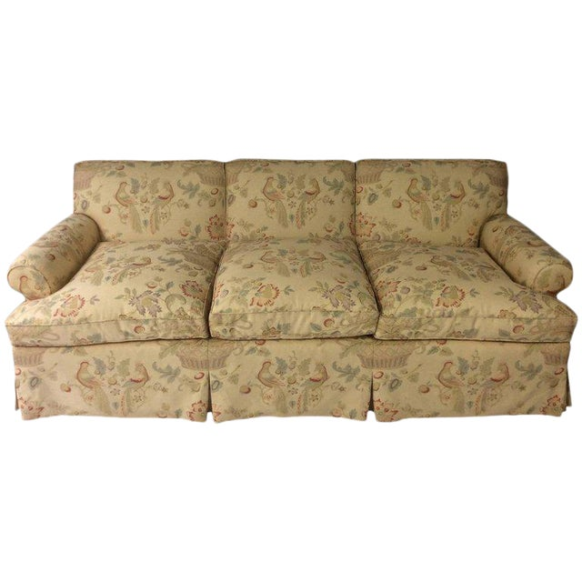 English Sofa, Manner of George Smith, Custom Upholstered in Bennison Linen For Sale