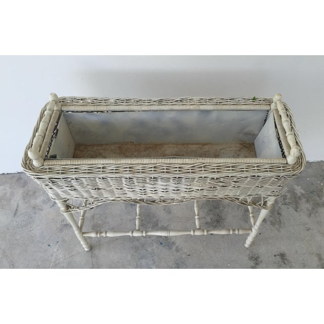 Antique White-Painted Wicker & Wood Planter - Image 4 of 9