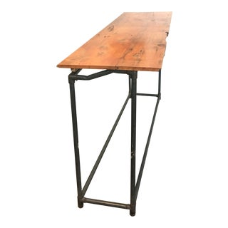 Antique Industrial Rustic Wood Top Kitchen Island Table For Sale
