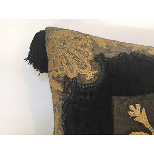 Moroccan Black Silk Decorative Pillow With Gold Metallic Threads and Tassels For Sale - Image 4 of 10