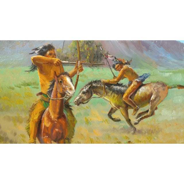 Native American Indians on Horse Oil Painting by Filastro Mottola For Sale - Image 4 of 9