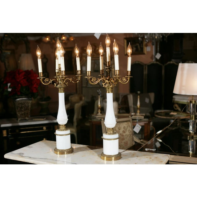 Bronze & Milk Glass Candelabras - A Pair - Image 3 of 6